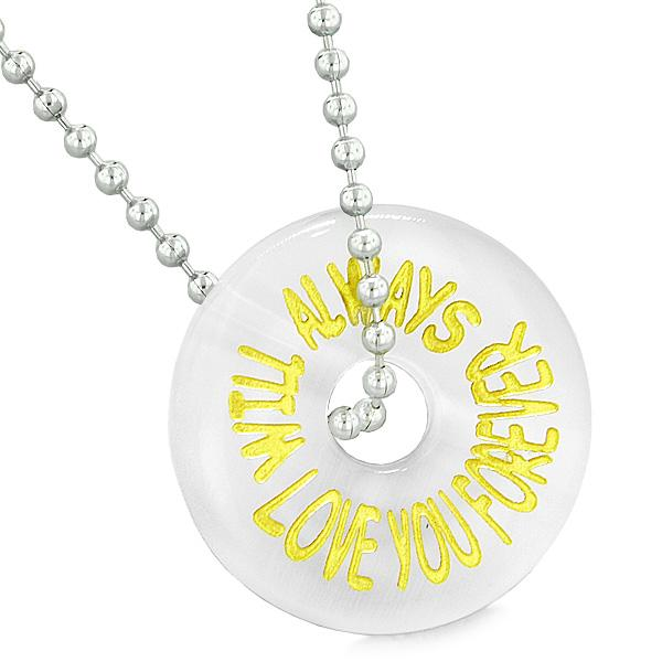 Inspiration Will Always Love You Forever Amulet Lucky Donut White Simulated Cats Eye Necklace