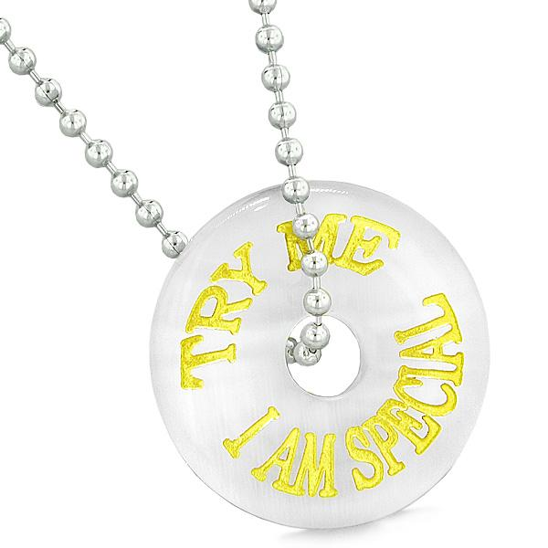 Inspiration Try Me I Am Special Fun Amulet Donut Lucky Charm White Simulated Cats Eye Necklace
