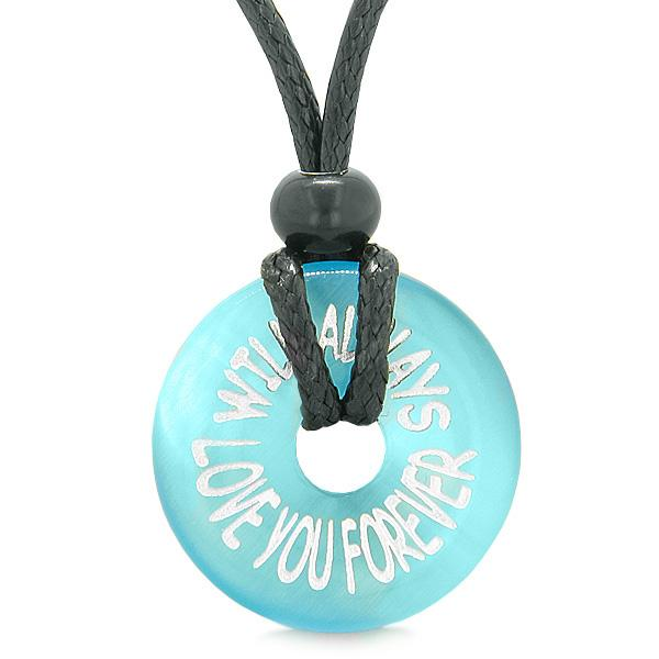 Inspiration Will Always Love You Forever Amulet Lucky Charm Donut Blue Simulated Cats Eye Necklace