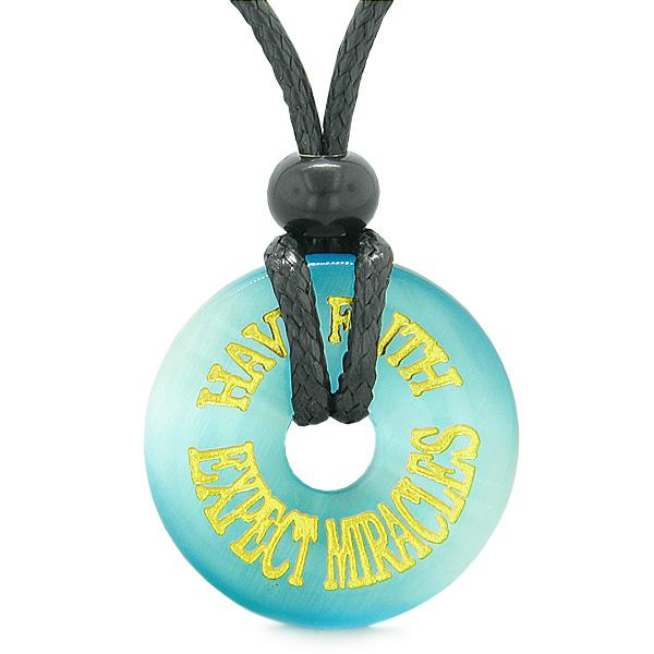 Inspiration Have Faith Expect Miracles Amulet Donut Lucky Charm Blue Simulated Cats Eye Necklace