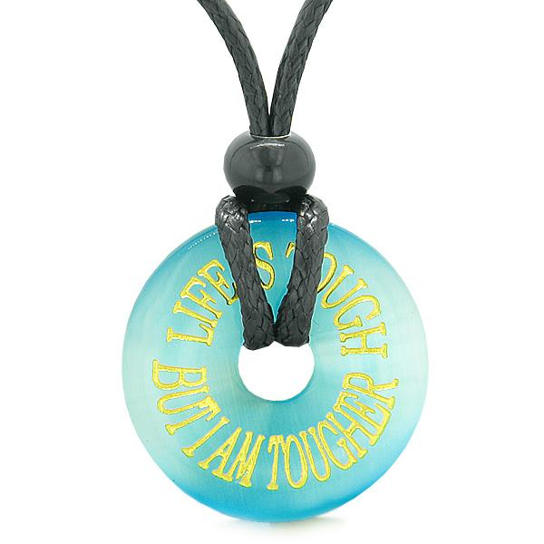 Inspiration Life is Tough But I am Tougher Amulet Donut Charm Blue Simulated Cats Eye Necklace