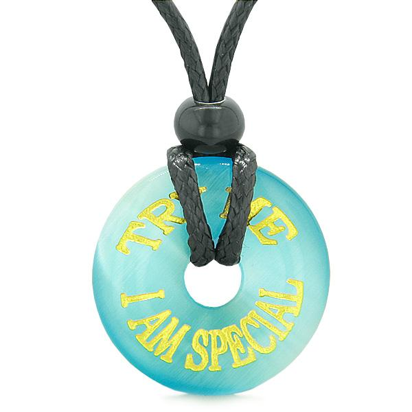 Inspiration Try Me I Am Special Amulet Donut Lucky Charm Sky Blue Simulated Cats Eye Fun Necklace