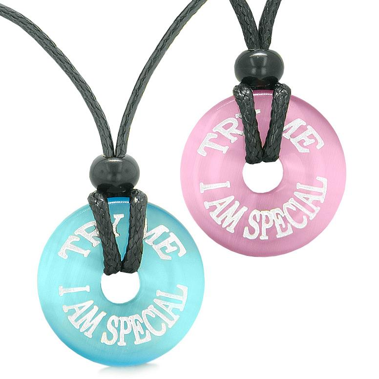 Amulets Try Me I Am Special Fun Love Couples or Best Friends Pink Blue Simulated Cats Eye Necklaces