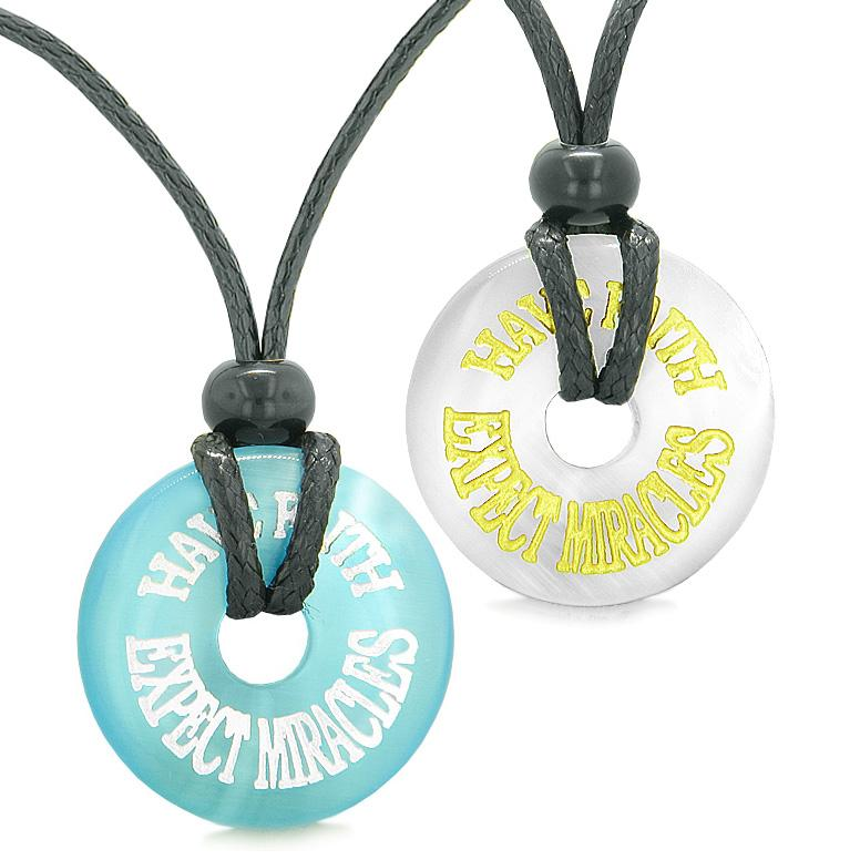 Amulets Have Faith Expect Miracles Love Couples Best Friends White Blue Simulated Cat Eye Necklaces