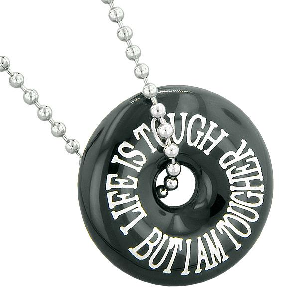 Inspirational Life is Tough But I am Tougher Amulet Lucky Donut Charm Agate Pendant Necklace