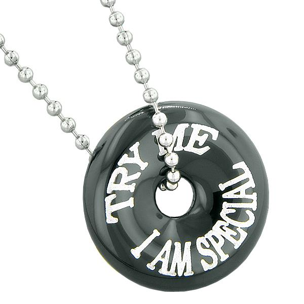 Inspirational Try Me I Am Special Fun Amulet Lucky Donut Charm Black Agate Pendant 18 Inch Necklace