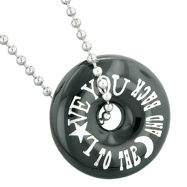 Inspirational Love You to the Moon and Back Amulet Lucky Donut Charm Black Agate Pendant Necklace
