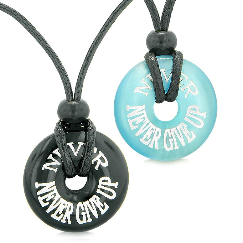 Never Never Give Up Love Couple or Best Friends Amulets Agate Blue Simulated Cats Eye Necklaces