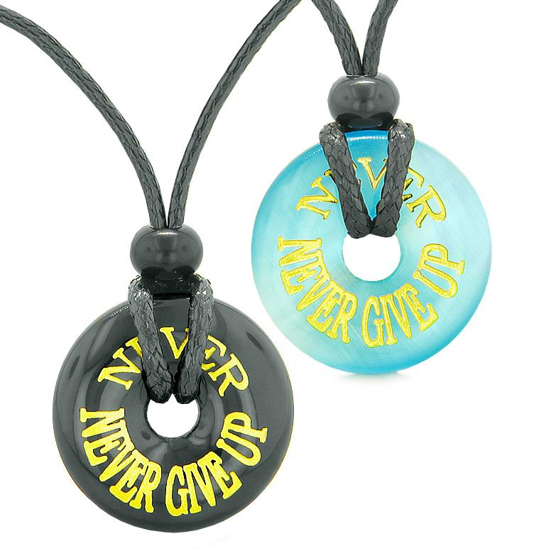 Never Never Give Up Love Couple or Best Friends Amulets Blue Simulated Cats Eye Agate Necklaces
