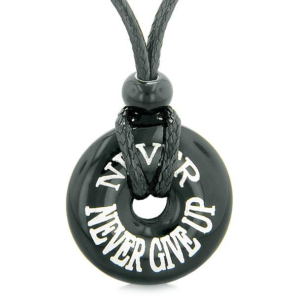 Inspiration Never Never Give Up Amulet Lucky Charm Magic Donut Black Agate Necklace