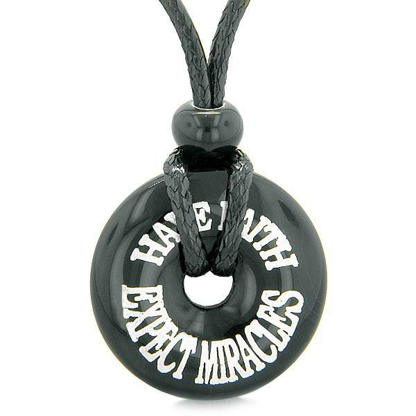 Inspiration Have Faith Expect Miracles Amulet Lucky Charm Magic Donut Black Agate Necklace