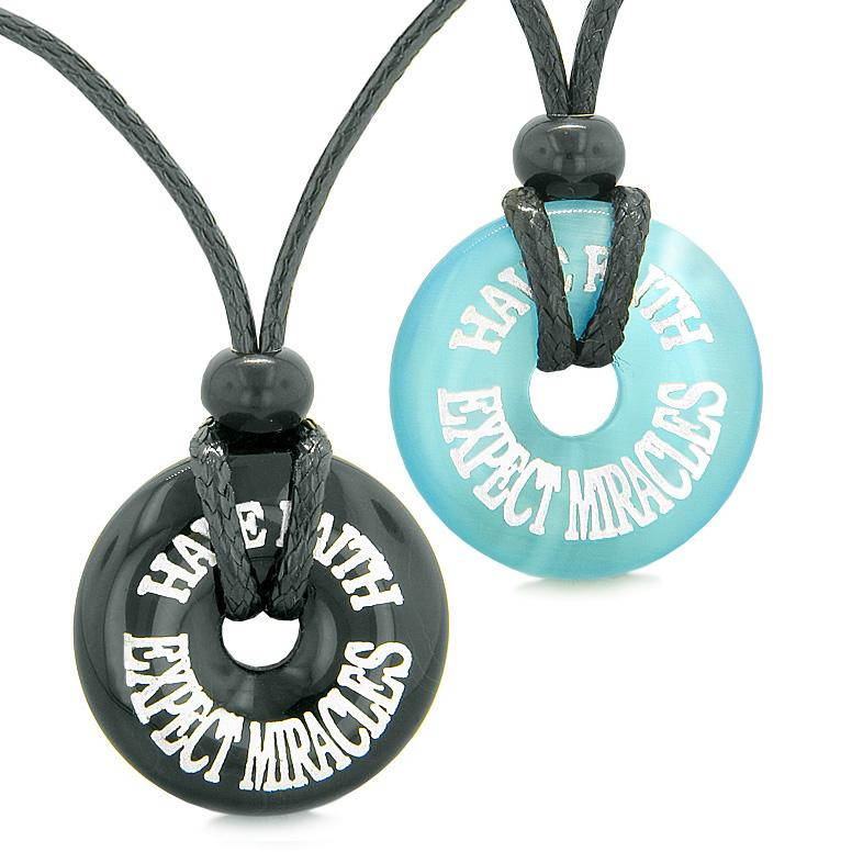 Have Faith Expect Miracles Love Couple Best Friends Amulets Agate Blue Simulated Cats Eye Necklaces