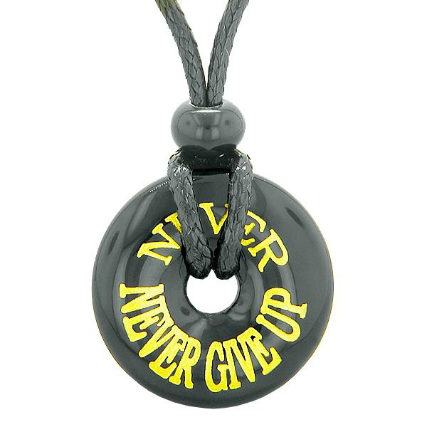 Inspiration Never Never Give Up Amulet Magic Lucky Charm Donut Black Agate Necklace