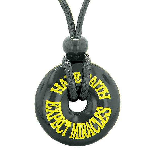 Inspiration Have Faith Expect Miracles Amulet Magic Lucky Charm Donut Black Agate Necklace