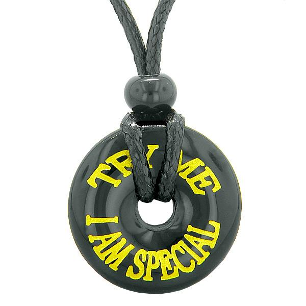 Inspiration Try Me I Am Special Amulet Magic Lucky Charm Donut Black Agate Fun Necklace