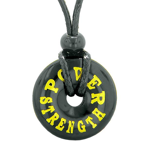 Inspiration Power and Strength Amulet Magic Lucky Charm Donut Black Agate Necklace
