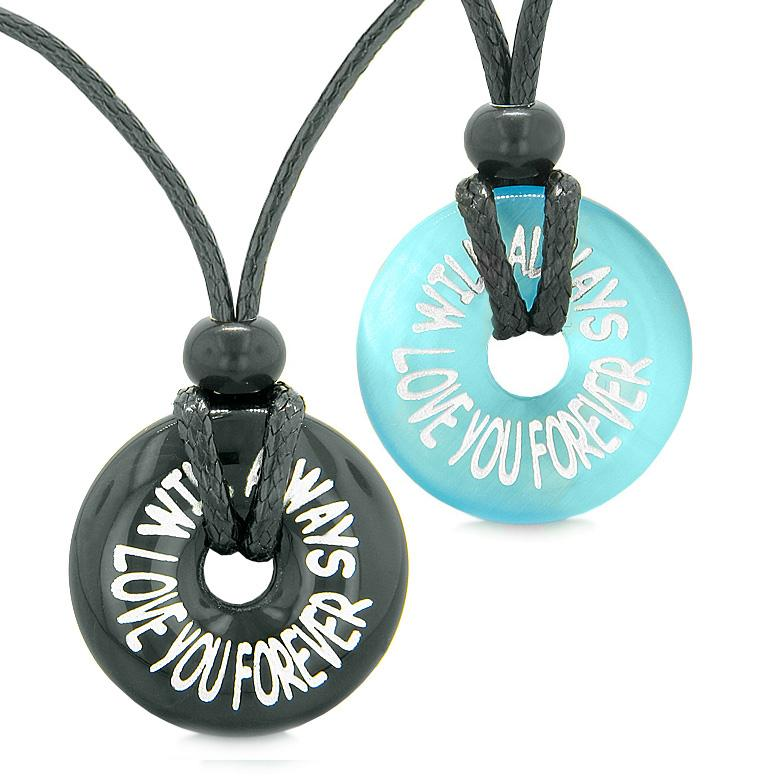 Will Always Love You Forever Couples Best Friends Amulets Agate Blue Simulated Cats Eye Necklaces