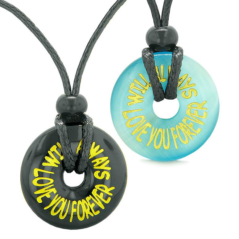 Will Always Love You Forever Couples Best Friends Amulets Blue Simulated Cats Eye Agate Necklaces