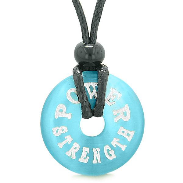 Inspiration Power and Strength Amulet Lucky Charm Magic Donut Sky Blue Simulated Cats Eye Necklace