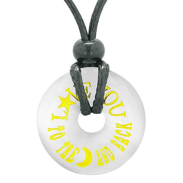 Inspiration Love You to the Moon and Back Amulet Charm Donut White Simulated Cats Eye Necklace