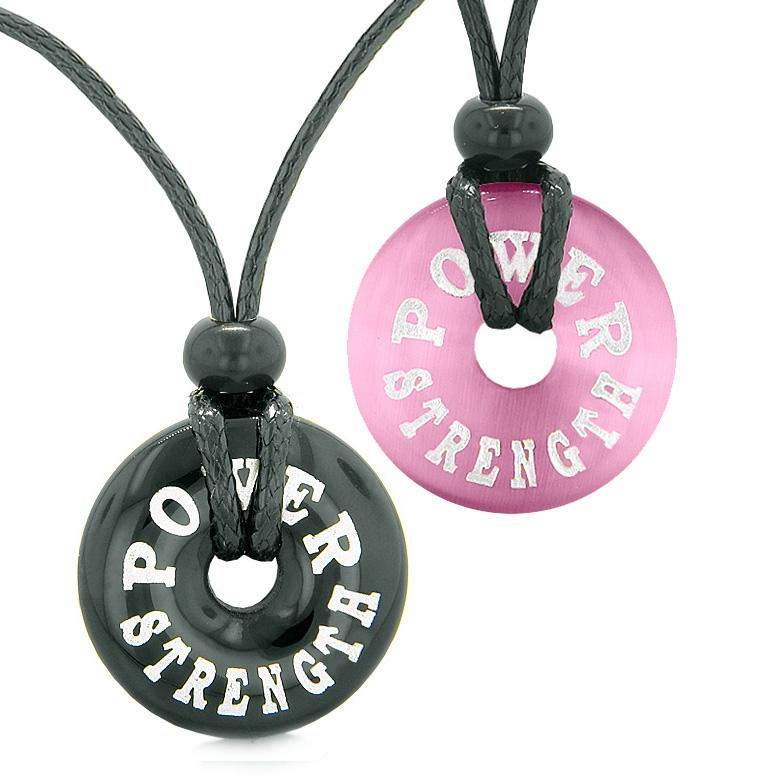 Power Strength Love Couples or Best Friends Amulets Black Agate Pink Simulated Cats Eye Necklaces