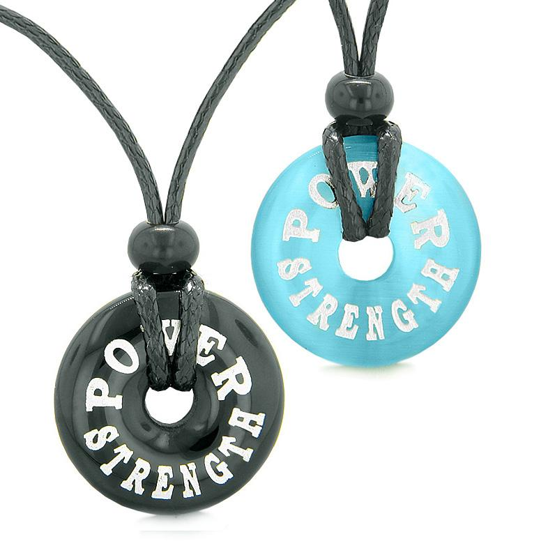 Power Strength Love Couples or Best Friends Amulets Black Agate Blue Simulated Cats Eye Necklaces