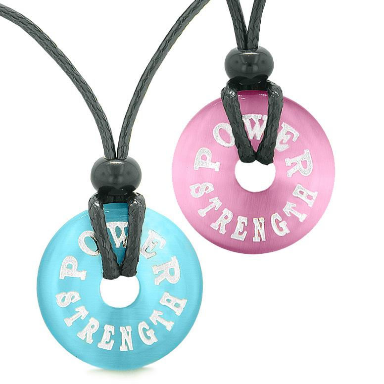 Power Strength Love Couples or Best Friends Amulets Pink Sky Blue Simulated Cats Eye Necklaces