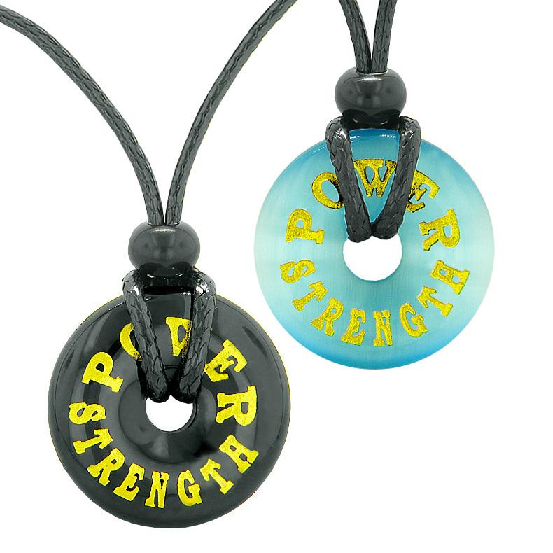 Power Strength Love Couples or Best Friends Amulets Blue Simulated Cats Eye Black Agate Necklaces