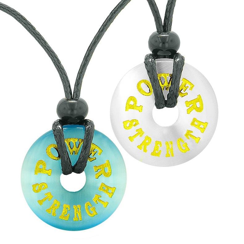 Power and Strength Love Couples or Best Friends Amulets White and Blue Simulated Cats Eye Necklaces