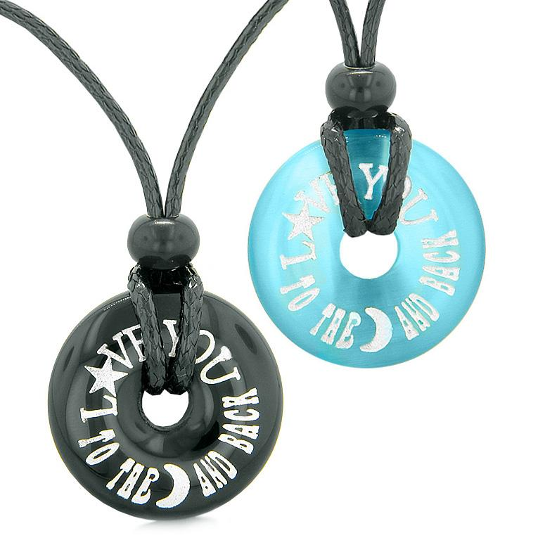 Love You to the Moon and Back Couples Best Friends Amulets Agate Blue Simulated Cats Eye Necklaces