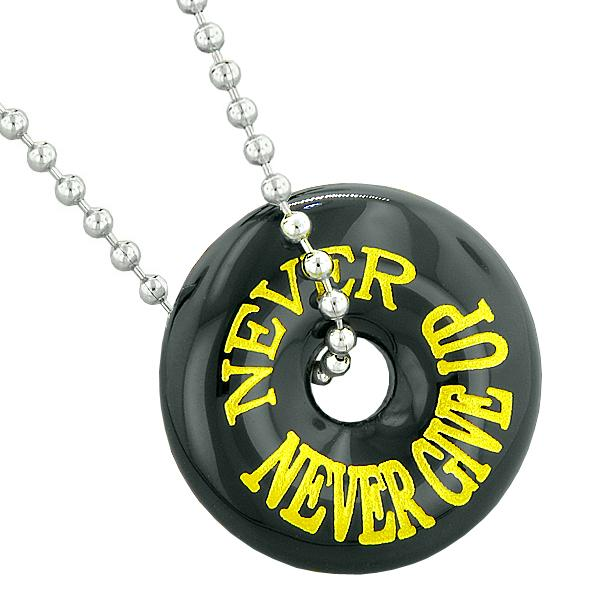 Inspirational Never Never Give Up Amulet Lucky Donut Charm Black Agate Pendant 22 Inch Necklace