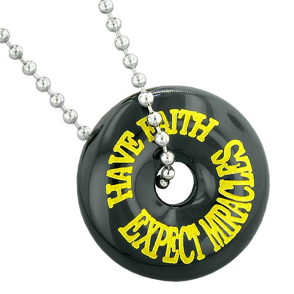 Inspirational Have Faith Expect Miracles Amulet Lucky Donut Charm Black Agate Pendant Necklace