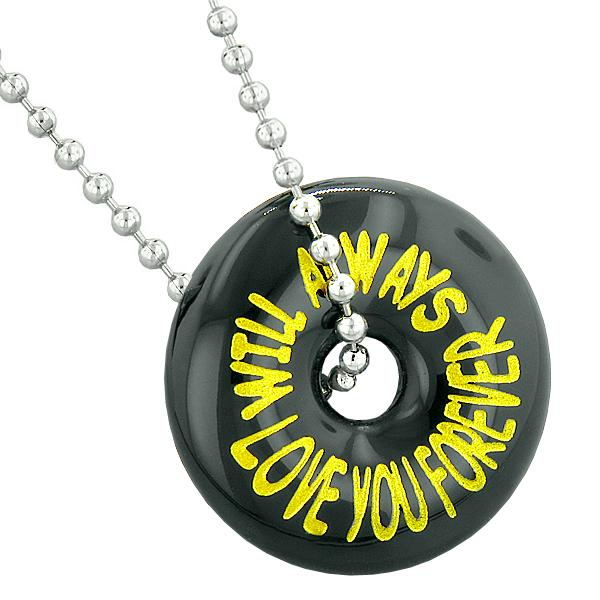 Inspirational Will Always Love You Forever Amulet Lucky Charm Donut Black Agate Pendant Necklace
