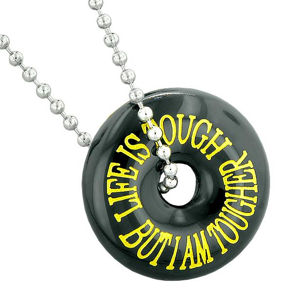 Inspirational Life is Tough But I am Tougher Amulet Lucky Charm Donut Agate Pendant Necklace