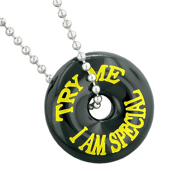 Inspirational Try Me I Am Special Fun Amulet Lucky Charm Donut Black Agate Pendant 22 Inch Necklace