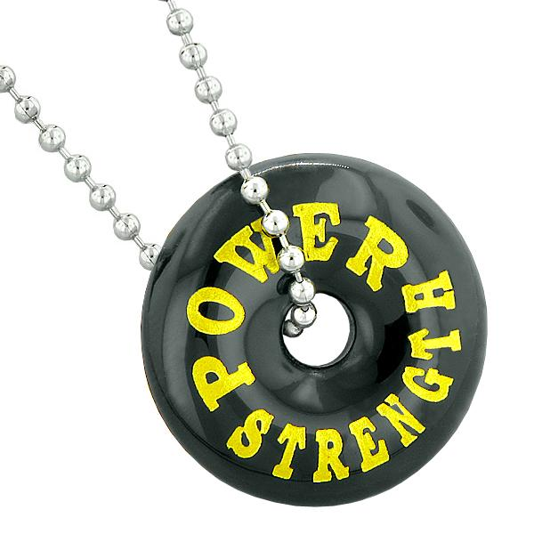 Inspirational Power and Strength Amulet Lucky Donut Charm Black Agate Pendant 22 Inch Necklace