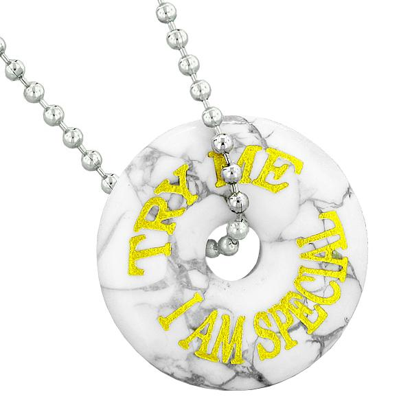 Inspirational Try Me I Am Special Fun Amulet Lucky Charm Donut White Howlite Pendant Necklace