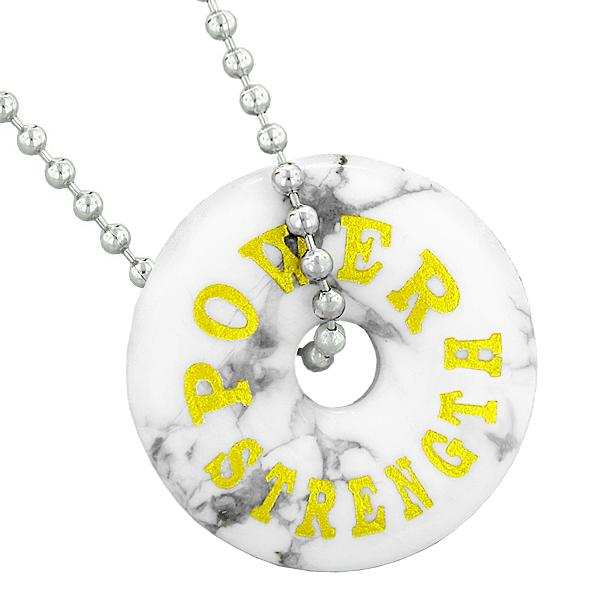 Inspirational Power and Strength Amulet Lucky Donut Charm White Howlite Pendant 22 Inch Necklace