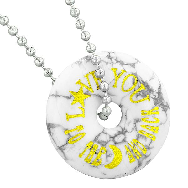 Inspirational Love You to the Moon and Back Amulet Lucky Charm Donut Howlite Pendant Necklace