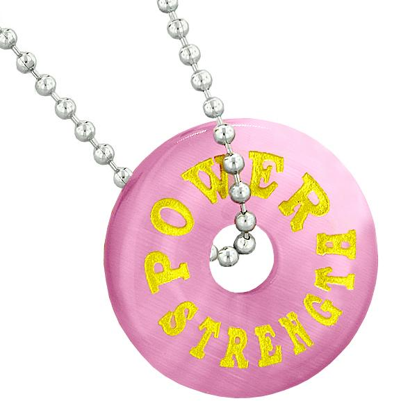 Inspirational Power Strength Amulet Lucky Donut Charm Pink Simulated Cats Eye Pendant Necklace