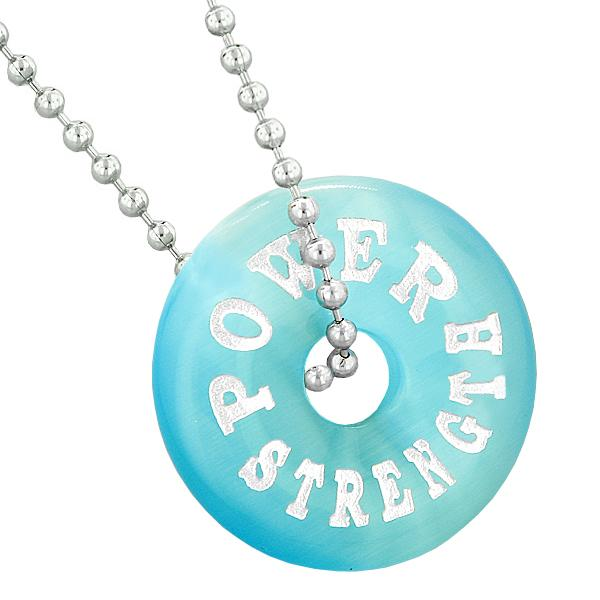 Inspirational Power Strength Amulet Lucky Charm Donut Blue Simulated Cats Eye Pendant Necklace