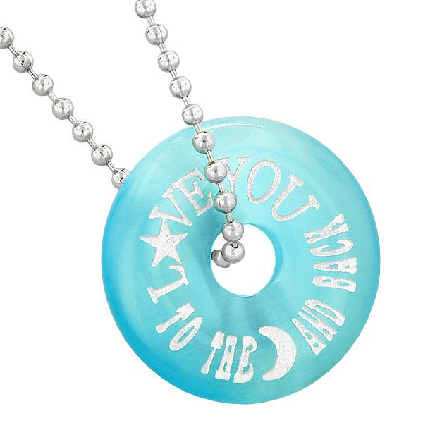 Inspirational Love You to the Moon and Back Amulet Lucky Donut Blue Simulated Cats Eye Necklace