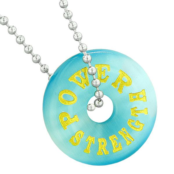 Inspirational Power Strength Amulet Lucky Donut Charm Blue Simulated Cats Eye Pendant Necklace