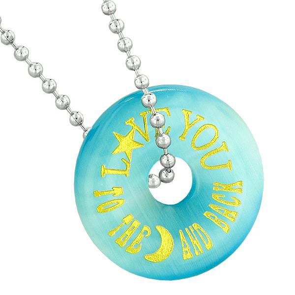 Inspirational Love You to the Moon and Back Amulet Donut Lucky Blue Simulated Cats Eye Necklace