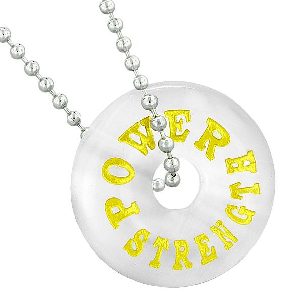 Inspirational Power Strength Amulet Lucky Donut Charm White Simulated Cats Eye Pendant Necklace