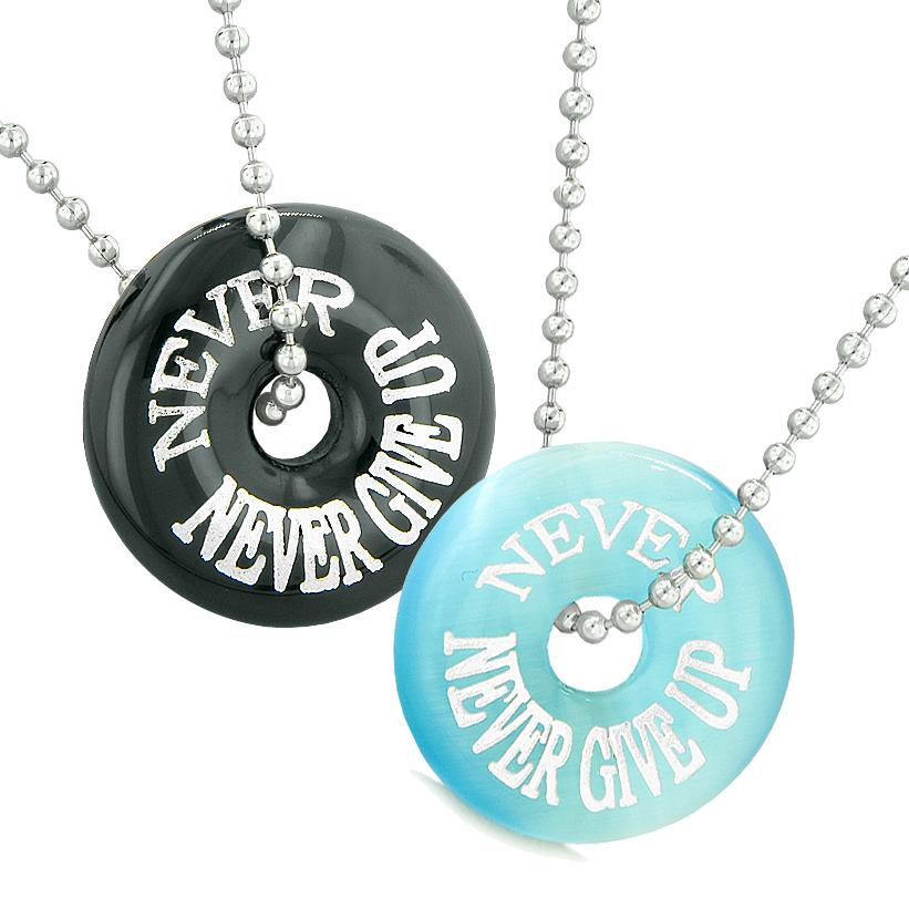 Never Never Give Up Best Friends Love Couple Amulets Black Agate Blue Simulated Cats Eye Necklaces