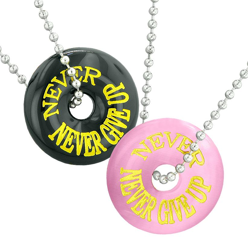 Never Never Give Up Love Best Friends Couples Amulets Pink Simulated Cats Eye Black Agate Necklaces