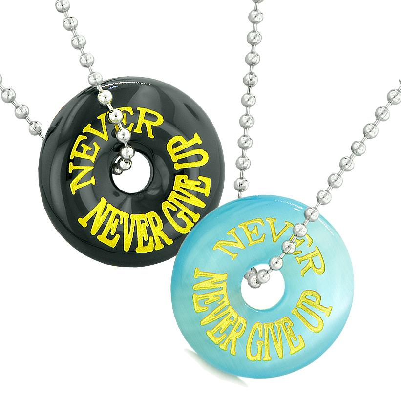 Never Never Give Up Best Friends or Love Couple Amulets Sky Blue Simulated Cats Eye Agate Necklaces