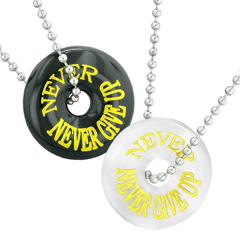 Never Never Give Up Love Best Friends Couples Amulets Agate White Simulated Cats Eye Necklaces