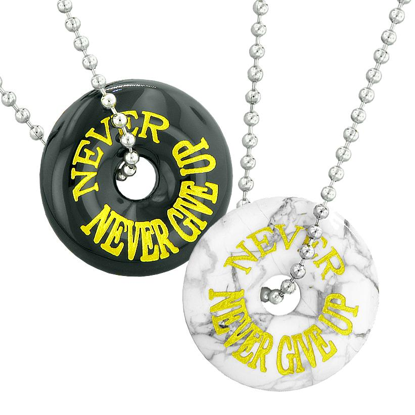 Never Never Give Up Best Friends or Love Couples Amulets White Howlite and Black Agate Necklaces